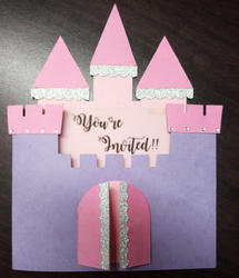 Birthday Anniversary Tri Fold Insert Princess Castle Invitation