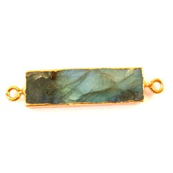 Gold Electroplated Rough Labradorite Connector Designer Bezel Gemstone