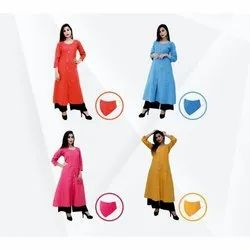 Casual Wear 3/4Th Sleeve Ladies Cotton Designer Kurtis With Mask, Wash Care: Handwash