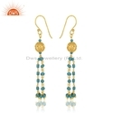 Natural Turquoise Beaded Gemstone Gold Plated Designer Silver Earrings