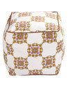 Off White and Yellow Floral Printed Cotton Handmade Puffs
