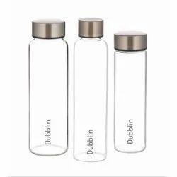 Transparent Dubblin Borosilicate Glass Bottle Stream, Silver, Capacity: 1000 Ml