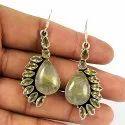 925 Sterling Silver Real Sunstone Earrings