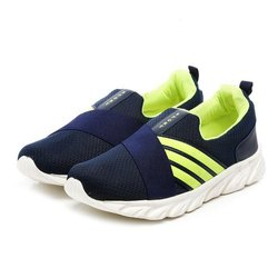Mens Navy Blue Green Synthetic Walking Shoes