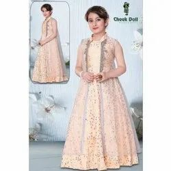 Silk Party Wear Girls Long Gown With Net Long Shrug, 24-36, Age: 4-12 Year