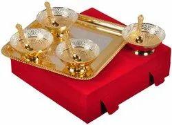 Designer Gold Plated Decorative Bowl Set For Wedding Gifts