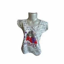 Cotton Half Sleeves Printed Ladies Top, Packaging Type: Plastic Packet