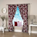 Ravi Exports Digital Printed Abstract Flowery Marun Curtain