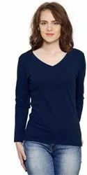 Navy Blue V Neck Full Sleeves T Shirt