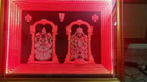 Sri Venkateswara Perumal Big Wooden Frame With Stones