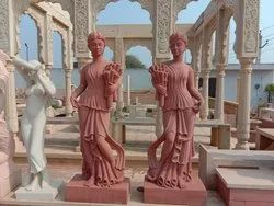 Red Sandstone Girl Statue