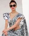 New Hot Trending Printed Party Wear Ultra Satin Printed Saree With Blouse