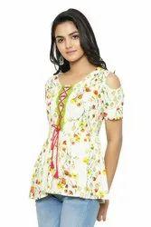 Yash Gallery Women's Rayon Slub Floral Printed Top
