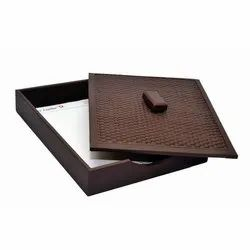 Leatherette Brown Leather Paper Tray, 12 X 10 X 2.5