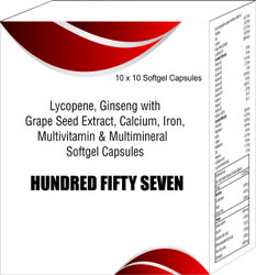 Lycopene Ginseng with Grape Seed Extract Calcium Iron Multivitamins and Multimineral Softgel Capsule