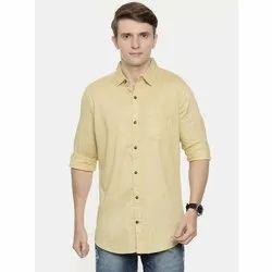 Collar Neck Plain Mens Cotton Casual Shirt