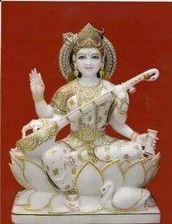 3 Feet Painted Marble Saraswati Statue
