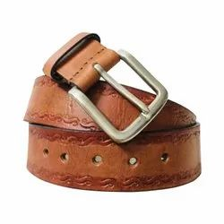 Casual Wear Men Hand Tooling Leather Belt