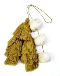 Golden Handmade Cotton Pom Pom Bags Tassel