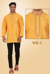 Silk as photo Trendy Mens Wear, Band Collar, Size: 38-48