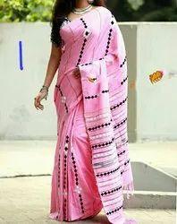 Sanghamitra Sarees 6.5 m Applique khesh handloom saree, With Blouse Piece