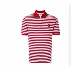 Half Sleeve Mens Striped Printed Polo Cotton T Shirt, Size: S-XXL