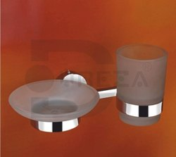 Stainless Steel Silver Soap Dish With Tumbler Holder, For Bathroom Fitting