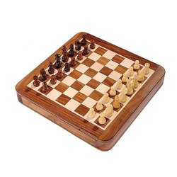 7X7 Flat Drawer Wooden Magnetic Chess Set