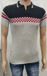 Mens Lycra Cotton Half Sleeve Printed Knitted T Shirt