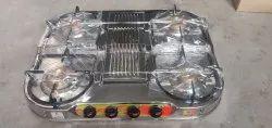 Stainless Steel LPG Stove 4 Burner, For Kitchen