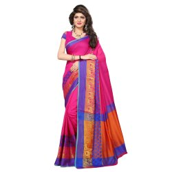 Pink Colored Cotton Silk Casual Saree