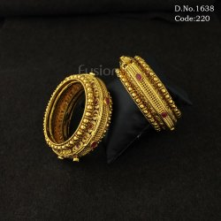 Traditional Antique Designer Openable Kada with Ruby Stone