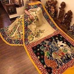 Kalamkari Prints Printed Cotton Sarees, 5.5 m (separate blouse piece)