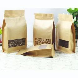 3D-Flat Bottom Side Gusset Rectangle Window Kraft Paper Zipper Stand Up Pouches