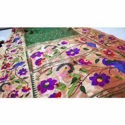 Ladies Wedding Wear Brocade Hand Work Paithani Sarees, 6.5 M