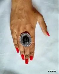 Silver Oxidised Finger Ring - Ethnic Adjustable Mirror Ring