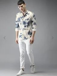 Bene Kleed White And Blue Printed Casual Shirt