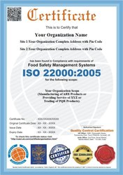 ISO 22000 : 2005 Certification