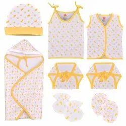 Yellow & White Cotton Kids Wear Set