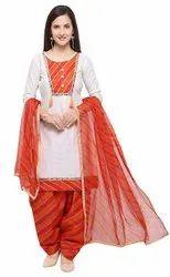Unstitched White, Orange Ladies Cotton Punjabi Suit, Machine wash