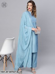 Blue Pin Tucked Kurta Set With Dupatta