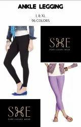 Black Mid Waist Ankle Length Leggings For Ladies, Casual Wear, Slim Fit