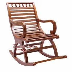 Dwarka Impex Walnut Wooden Rocking Chair