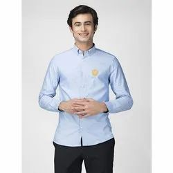 Green Hill Men's Solid Casual Sky Blue Oxford Shirt