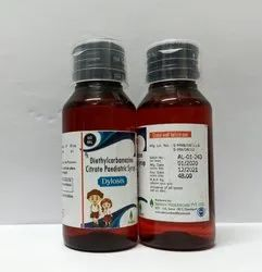 DIETHYLCARBAMAZINE CITRATE IP 50MG/5ML, For Clinical, Packaging Size: 60ML