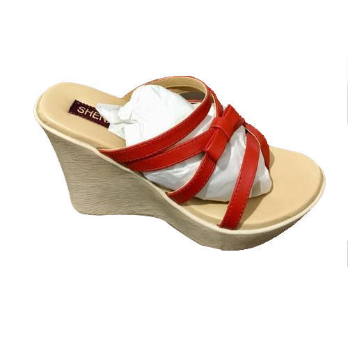 3e4f0d93216 Ladies Red And Cream Platform Heel Slippers