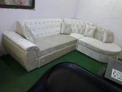 Wooden Modern L Shape Sofa Set, Living Room, Size: 5' X 7