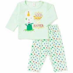 Cotton Printed Kids Full Sleeves Night Suit