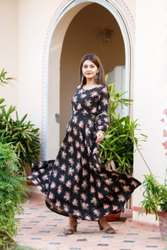 Long Flared Dress with Printed Design Long Kurti