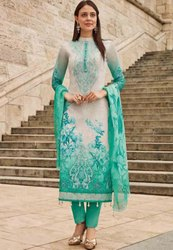 Off White And Rama Green Printed Pant Kameez